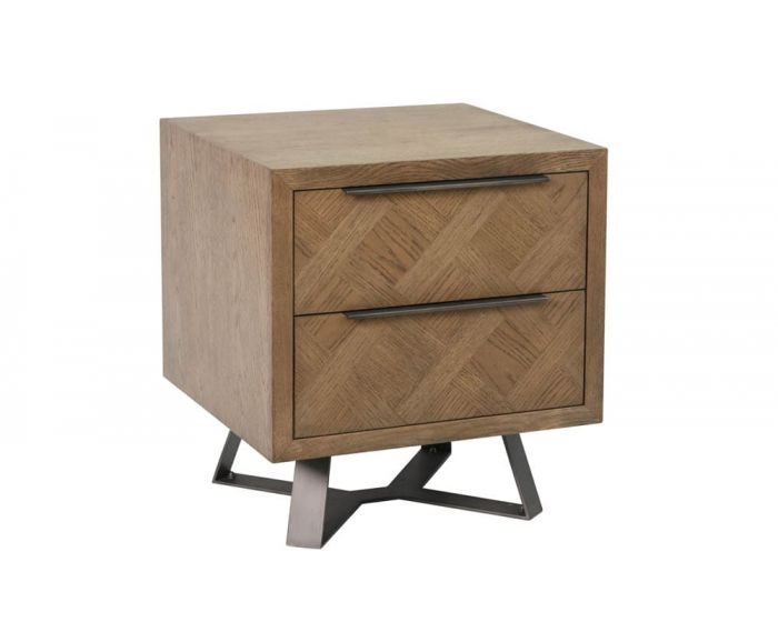 Irina Brown and Grey Patterned Bedside Cabinet