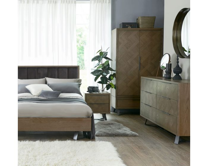Irina Brown and Grey Patterned Bed Frame