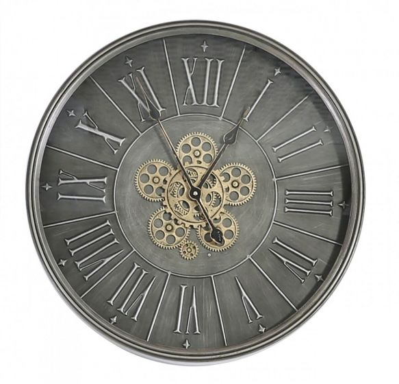 Isobel Round 60cm Dark Grey Wall Clock With Gears Design
