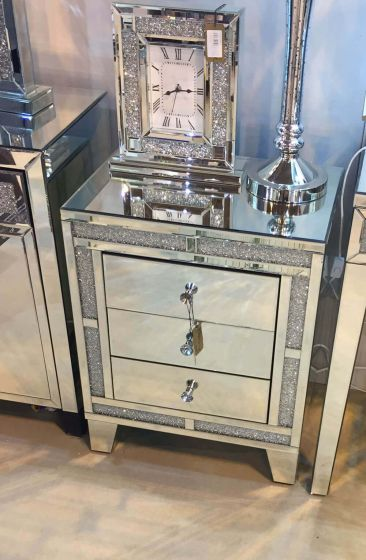 Italian Designed Mirrored 3 Drawer Small Chest