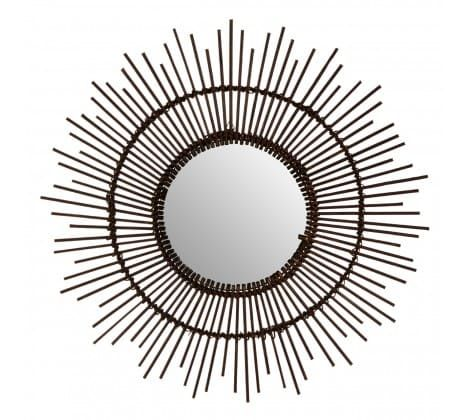 Jaroslava Rattan Black Wall Mirror