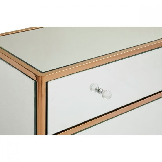 Jasmine 3 Drawer Rose Gold Mirrored Glass Chest of Drawers