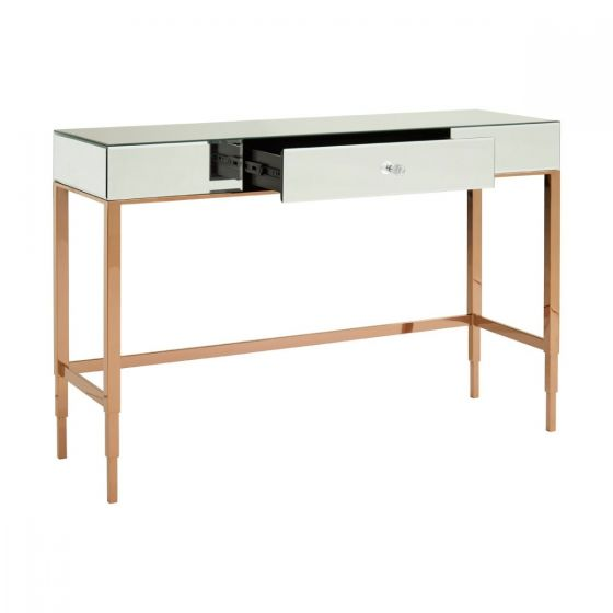 Jasmine 3 Drawer Rose Gold Mirrored Glass Console Table
