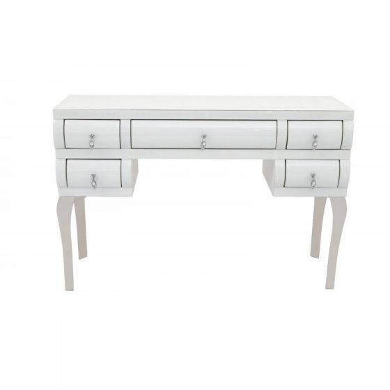 Juneau Curved White Glass Dressing Table