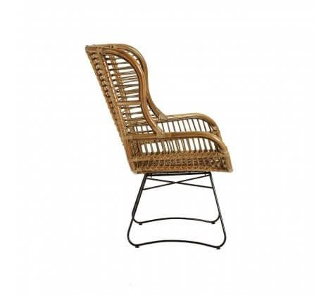 Kuba Rattan and Iron Large Chair