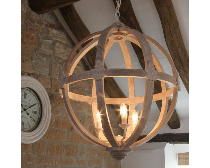 Large Round Natural Wooden Pendant