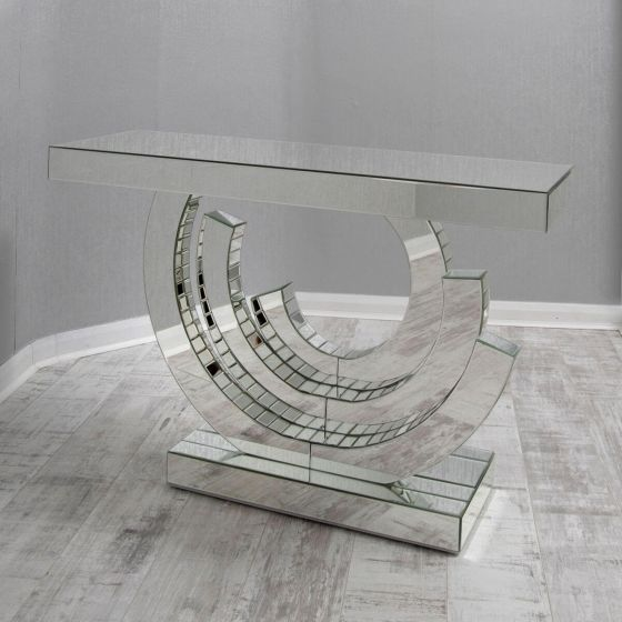 Lauren Clear Mirrored Funky Round Console Table