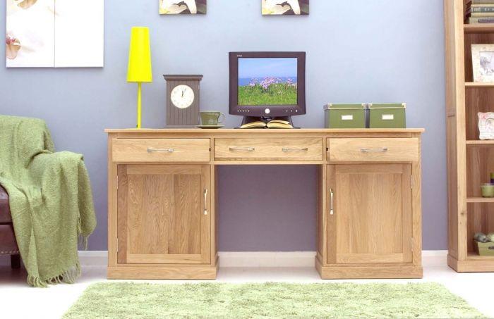 Light Oak Large Hidden Pedestal Desk