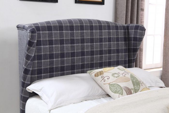 Lila Fabric Bed Frame - Grey Cheque Headboard