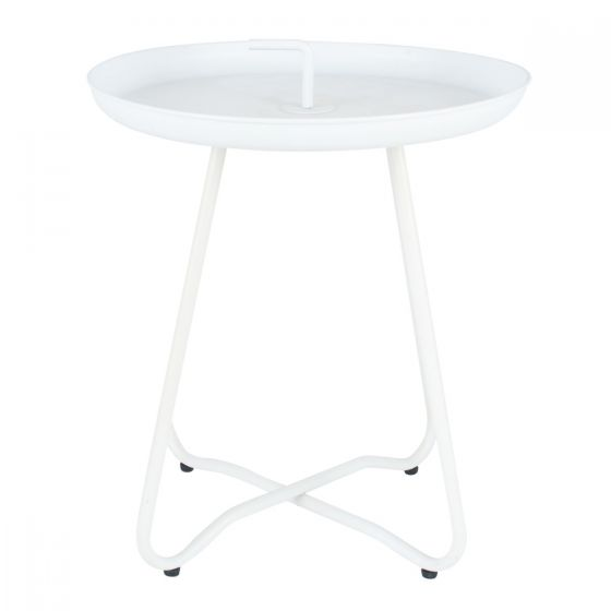 Lilly Matt Metal Side Table with Handle - Black, White or Grey