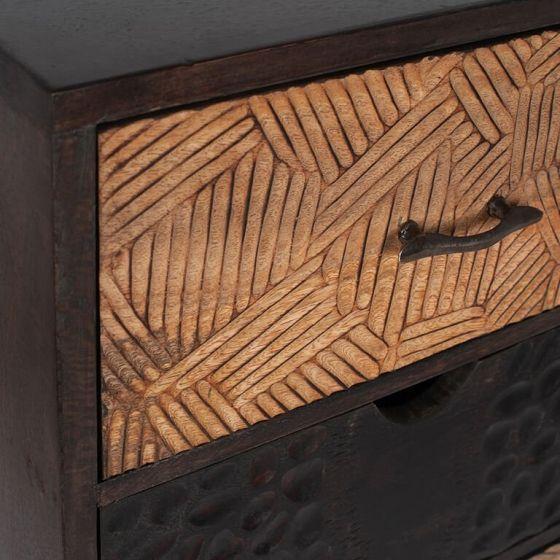 Ludovica Hand Carved Patterned 3 Drawer Bedside
