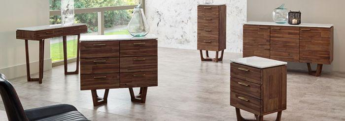 White Marble & Brown Acacia Wood Sideboard