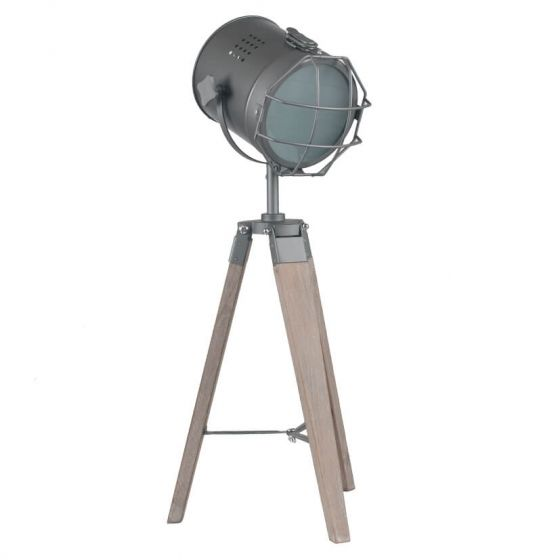 Marine Rustic Wood and Metal Tripod Table Lamp