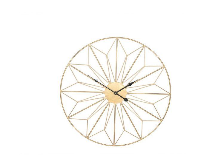 Mason Antique Gold Metal Geo Design Round Wall Clock