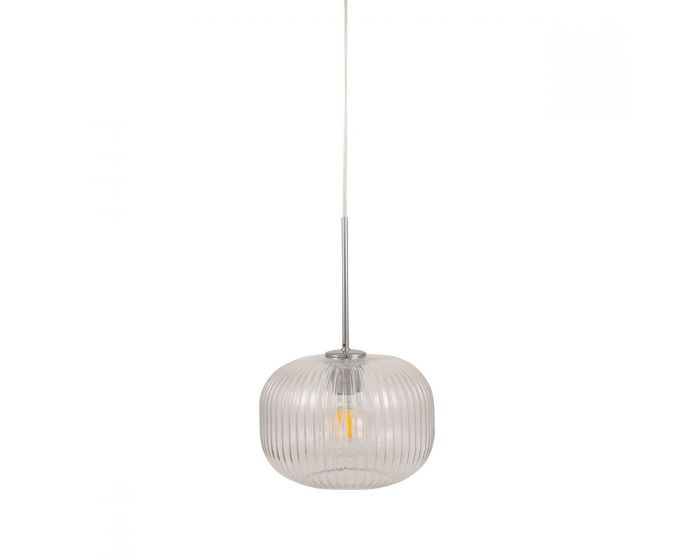 Mateo Glass and Silver Metal Ribbed Squoval Pendant