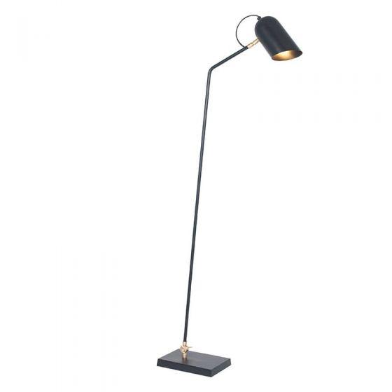 Matt Black and Gold Metal Adjustable Task Floor Lamp