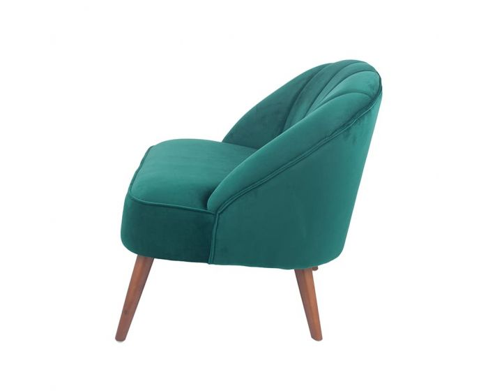 Mazo Forest Green Velvet Chair with Walnut Effect Legs