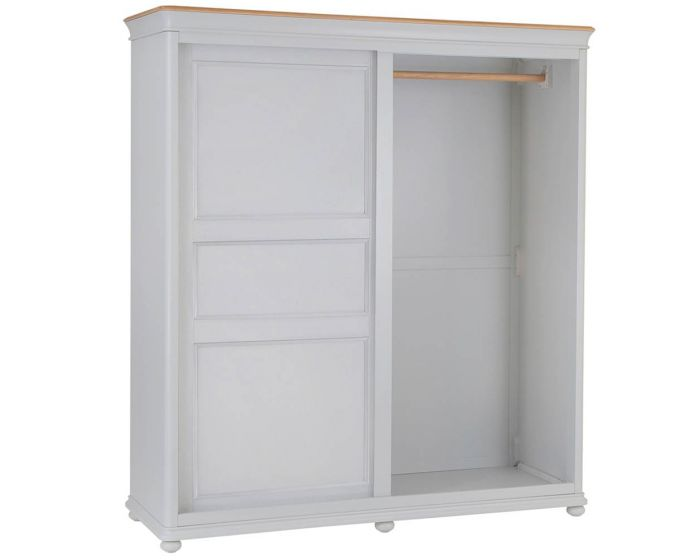 Mendes Soft Grey Slide Door Wardrobe