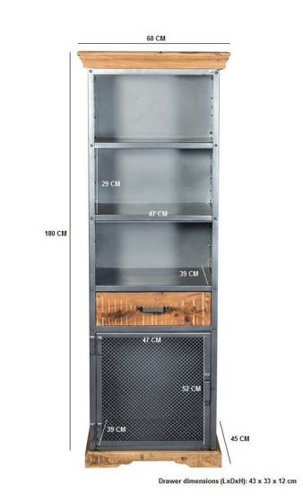 Metro Industrial Narrow 3 Shelf Bookcase