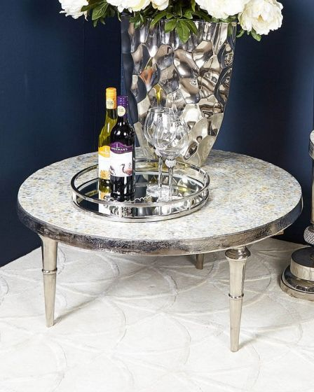 Mikel Mother Of Pearl Coffee Table with Nickel Base