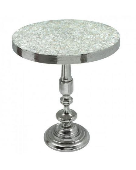 Mikel Mother Of Pearl Side Table with Nickel Base