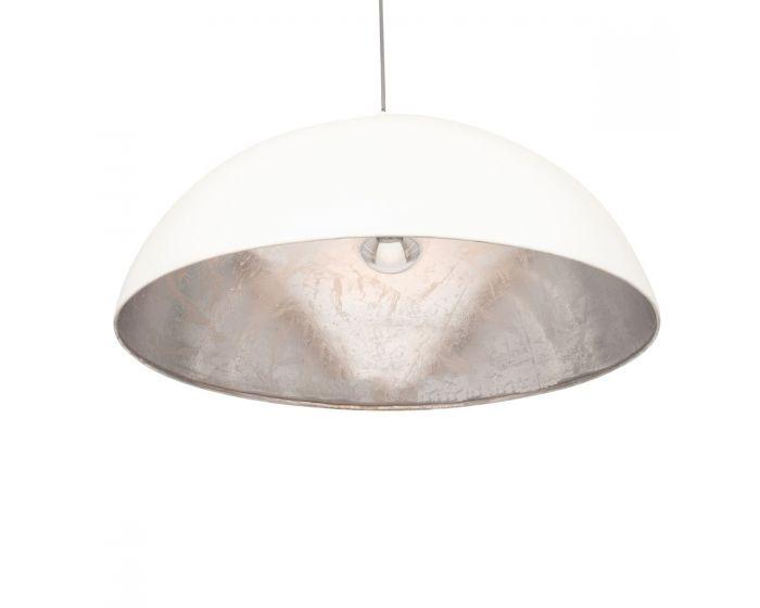 Minimalist Matt Cream and Silver Leaf Dome Pendant