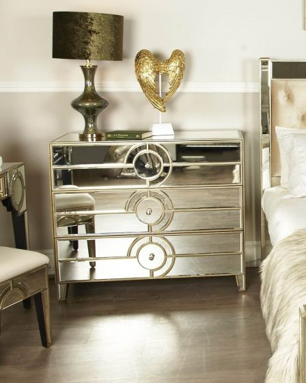 Mirrored Antique Gatsby 3 Drawer Chest