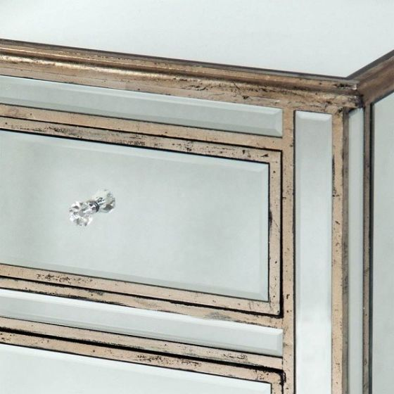 Mirrored Antique Silver Old Venetian Bedside Cabinet