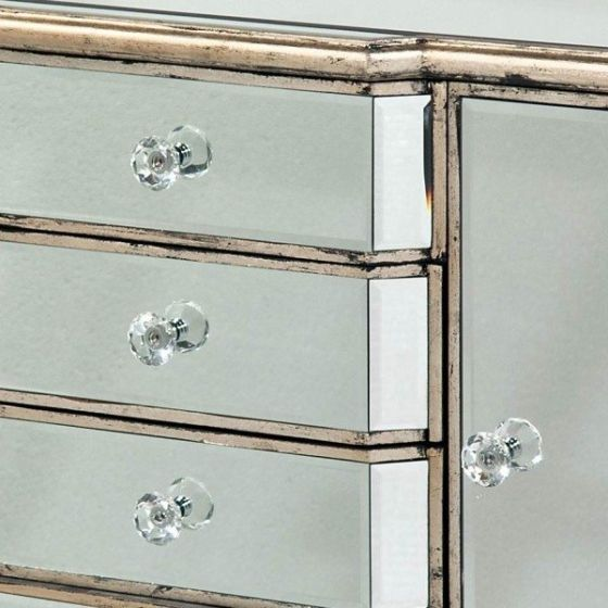 Mirrored Antique Venetian Sideboard 4 Drawer 2 Door
