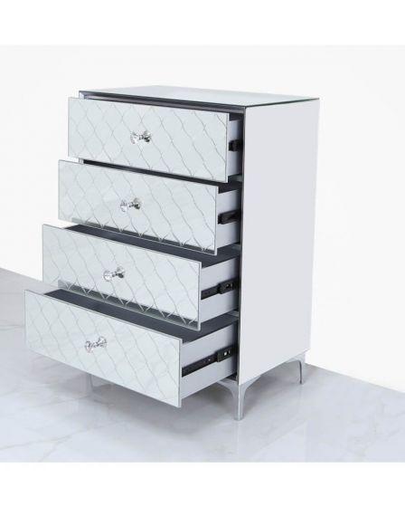 Mirrored Quatrefoil Designed 3 Drawer Bedside Cabinet