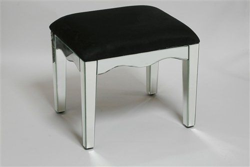 Mirrored Stool with a Black Velvet Top