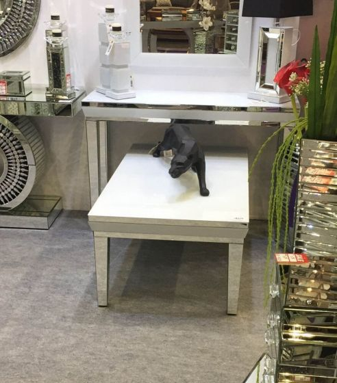 Misty Mirrored Console Table With White Inset