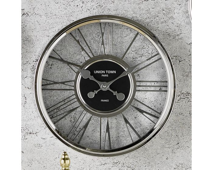 Mitro Metallic Silver Round Wall Clock