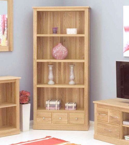 Modern Light Oak Large 3 Drawer Bookcase