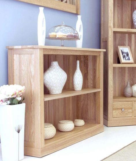 Modern Light Oak Low Bookcase