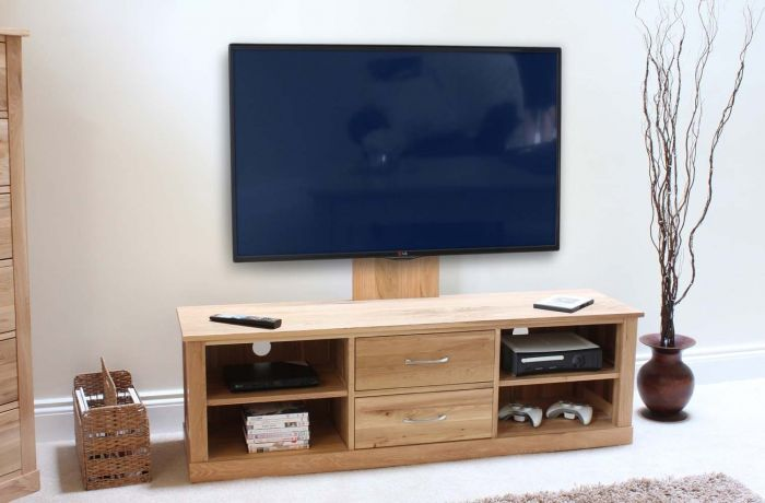 Modern Light Oak Mounted Widescreen Television Cabinet
