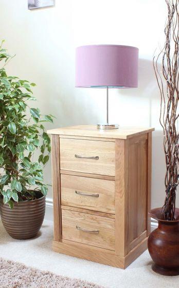Modern Light Oak Three Drawer Lamp Table