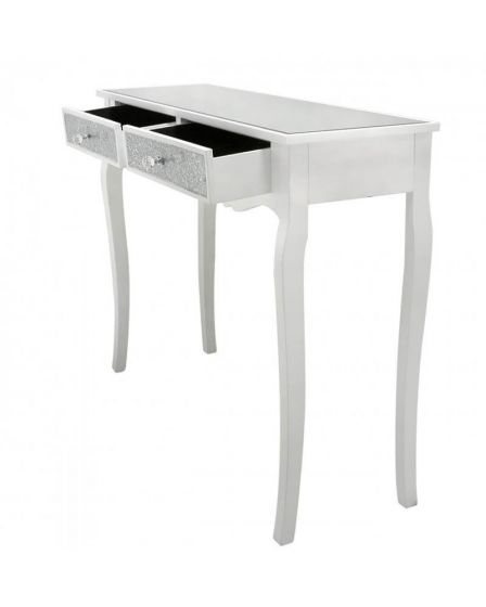 Mosaic Olly White Sparkly Console Table with Mirrored Top