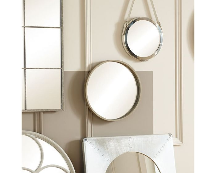 Natural Wood Framed Round Wall Mirror