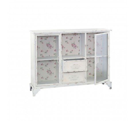 New York 2 Door 2 Drawer Distressed Cabinet White