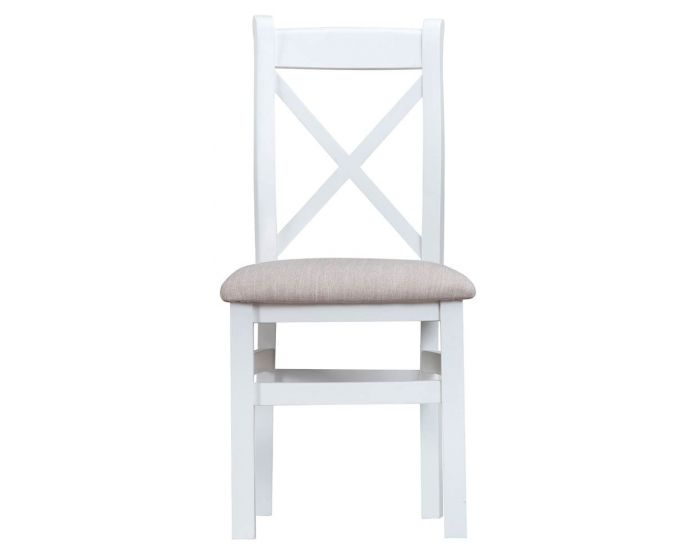 Newholme White Cross Back Fabric Chair - Box of 2