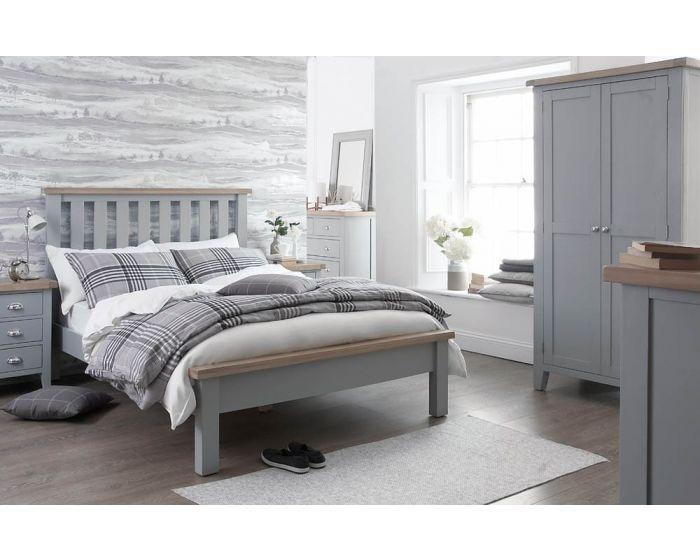Newsome Grey Oak 3 Drawer Bedside Cabinet