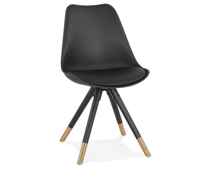 Niklas Black PU Leather and Gold Metal Designer Chair