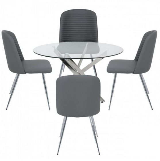 Nora 100cm Round Glass Dining Set with Grey Chairs