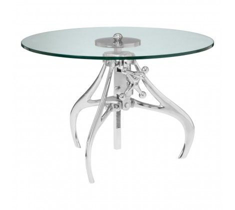 Norwood Crank Mechanism Metal and Glass Utility Table