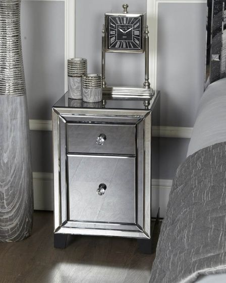 Oliver Smoked Glass Bedside Cabinet With 2 Drawers