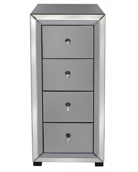 Oliver Smoked Glass Tallboy Chest with Narrow Frame