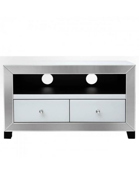 Olivia Mirror Glass White 2 Drawer TV Unit
