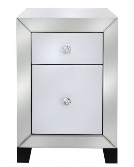 Olivia Mirror Glass White Bedside Cabinet - 1 Drawer