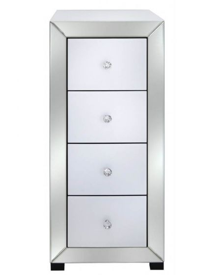 Olivia Mirror Glass White Narrow Chest